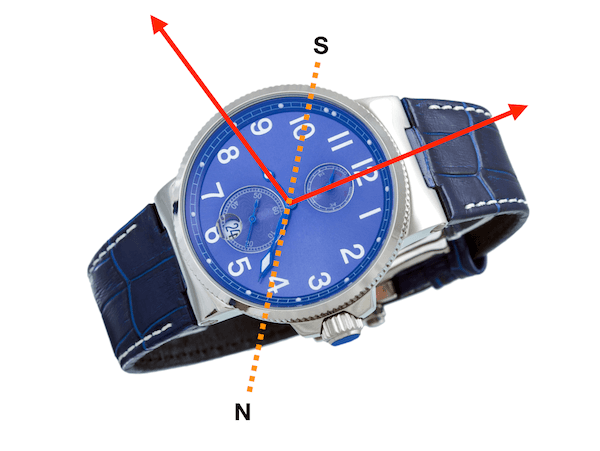 Use wristwatch to find north